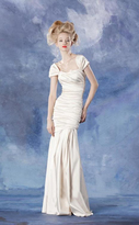 Theia 881459 Ruched Cap Sleeve Iridescent Long Gown