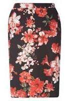 Dorothy Perkins Womens DP Curve Plus Size Floral Scuba Skirt- Black