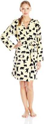 Little Blue House By Hatley Women's Fleece Robe Black Bears On Natural Black Bears On Natural Medium