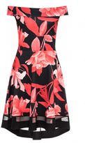 Quiz Black And Red Floral Print Bardot Dip Hem Dress