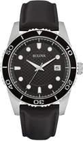 Bulova Men's Black Leather Strap Watch 43mm 98B275