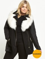 RI Plus Padded Faux Fur Collar Coat - Black