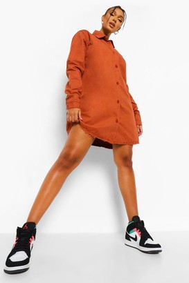 boohoo Fray Hem Oversized Shirt Dress