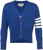 Thom Browne Short V-Neck Cardigan With 4-Bar Stripe In Blue Cashmere