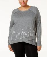 Calvin Klein Plus Size Logo Crossover-Hem Sweatshirt