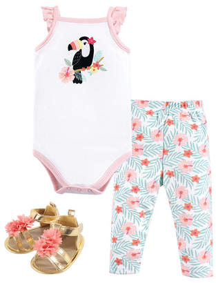 Hudson Baby Baby Girl Bodysuit, Pants and Shoe Set