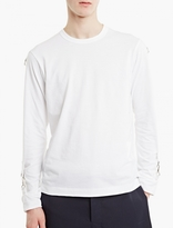 Comme Des Garcons Shirt White Buckle Style Long-sleeved T-shirt
