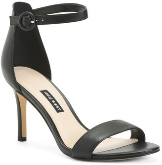 Double Band Heeled Leather Sandals