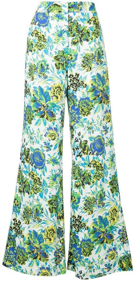 MSGM floral print wide-leg trousers