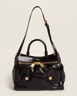 Moschino Black & Yellow Gold-Tone Leather Satchel