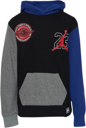 Jordan of Flight Hoodie Sweatshirt - Black / Deep Royal Gold Red