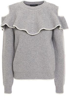 Alexander McQueen Cold-shoulder Ruffled Wool And Cashmere-blend Sweater
