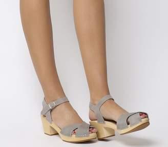 Swedish Hasbeens Mirja Mid Heel Sandals Grey Nubuck