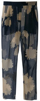 Floral-print chiffon trousers