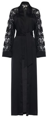 La Perla Long Robe in Silk with Leavers lace