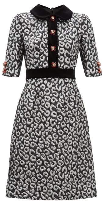 Dolce & Gabbana Leopard Jacquard And Velvet Trim Midi Dress - Womens - Silver Multi
