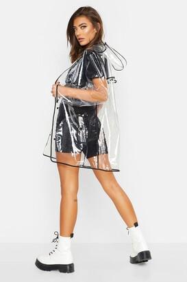 boohoo Transparent Rain Mac With Bound Seams