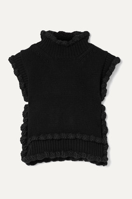 Cecilie Bahnsen - Taylor Scalloped Ribbed Wool Vest - Black