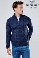 Threadbare Zipped Neck Jumper - Blue