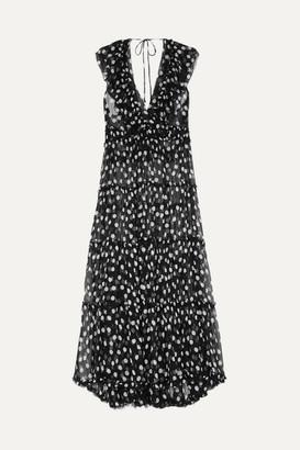 Lee Mathews - Mansfield Ruffled Polka-dot Crinkled Silk-georgette Maxi Dress - Black