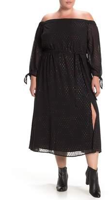 ELOQUII Off-The-Shoulder Metallic Dot Dress (Plus Size)