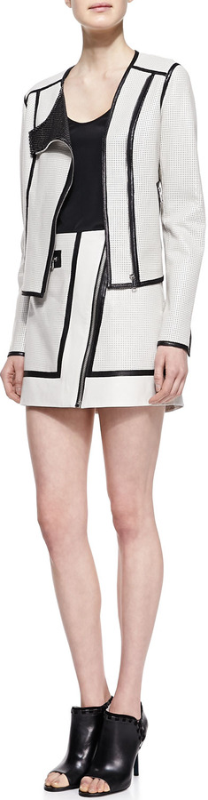 Richard Chai Andrew Marc x A-Line Perforated-Leather Skirt