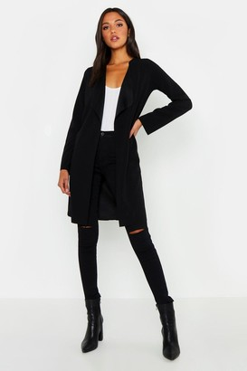 boohoo Tall Short Belted Waterfall Duster