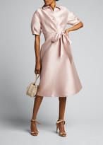 Rickie Freeman For Teri Jon Puff-Sleeve Mikado Shirt Dress