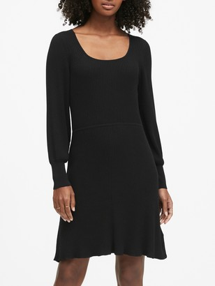 Banana Republic Ribbed Square-Neck Sweater Dress