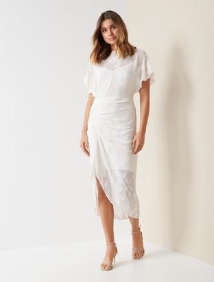 Forever New Tamara Ruched Midi Dress - Ivory - 10