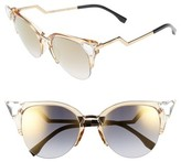 Fendi Women's 52Mm Crystal Tip Cat Eye Sunglasses - Crystal/ Palladium