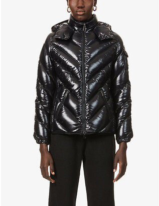 Moncler Ladies Black Chevron Brouel Hooded Padded Shell-Down Coat, Size: XS
