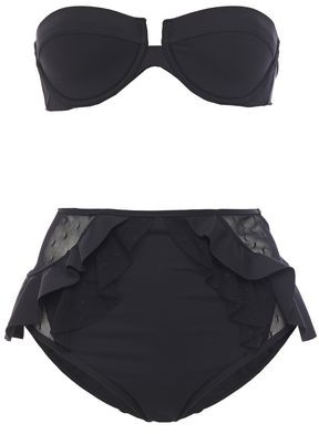 Zimmermann Point D'esprit-paneled Ruffled Bandeau Bikini