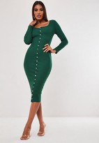 Missguided Green Long Sleeve Ribbed Popper Midi Dress