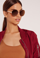 Missguided Oversized Frame Sunglasses Gold