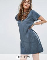 Sacred Hawk T-Shirt Dress With V Neck Double Strap