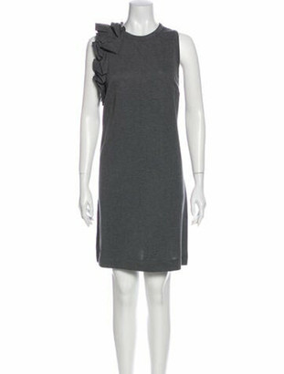 Brunello Cucinelli Crew Neck Knee-Length Dress Grey