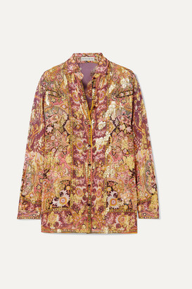 Etro Printed Fil Coupe Silk-blend Georgette Shirt - Plum
