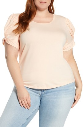 Bobeau Corbin Puff Sleeve Shirt (Plus Size)