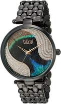 Burgi BUR162BK Women's Quartz Metal and Stainless Steel Automatic Watch, Black