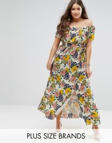 Koko Plus Bardot Maxi Dress In Floral Print