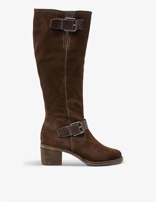 Dune Twiggie buckle-detail suede knee-high boots