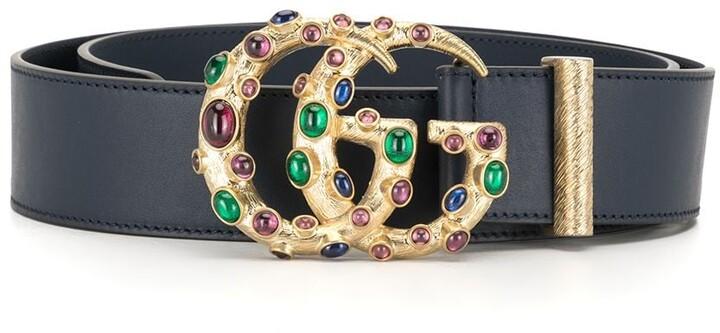 Gucci Crystal-Embellished Logo Plaque Belt