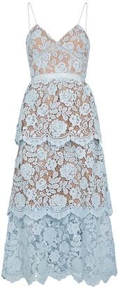 Self-Portrait Blue floral guipure lace midi dress