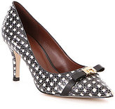 Cole Haan Juliana Grid Leather Bow Detail Pointed-Toe Pumps