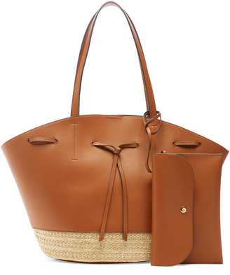 Sole Society Women's Felia Tote2 Faux Leather Tote With Straw Trims Cognac From