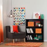 South Shore Morgan 3-Shelf Bookcase with 2 Canvas Storage Baskets in Black Oak