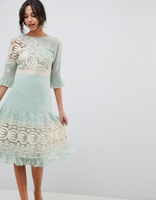 ASOS DESIGN Premium Crochet Insert Midi Dress