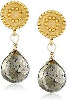 Satya Jewelry Celestial Sun and Moon Stud Pyrite Drop Earrings