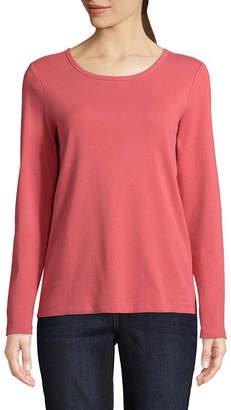 ST. JOHN'S BAY Womens Round Neck Long Sleeve T-Shirt